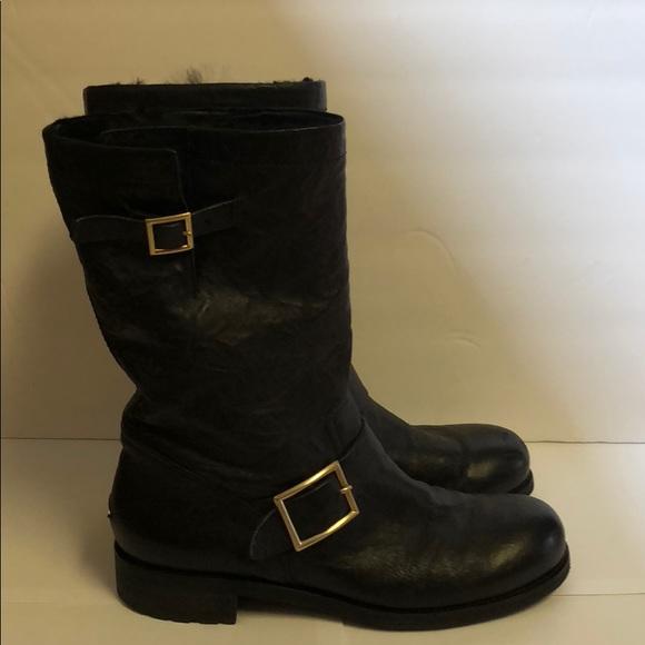 jimmy choo shoes biker lined boot with rabbit fur poshmark rh poshmark com